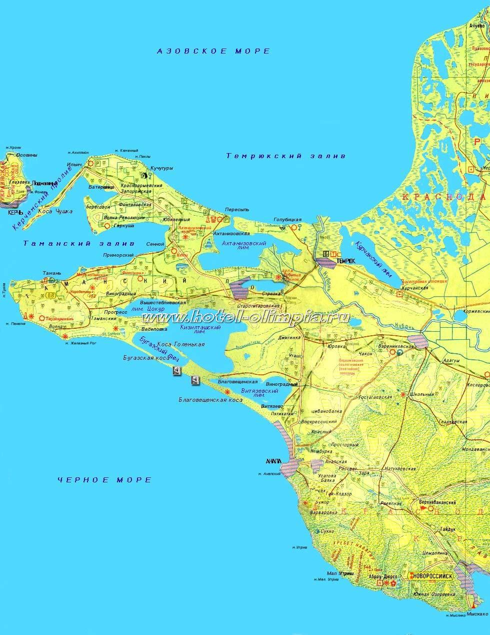 Карта таманского полуостврова
